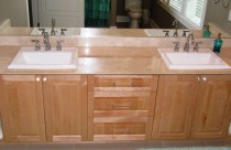 Crema Marfil (Marble) Double Vanity with Undermount Sinks. Edge- Reverse 45° Edge