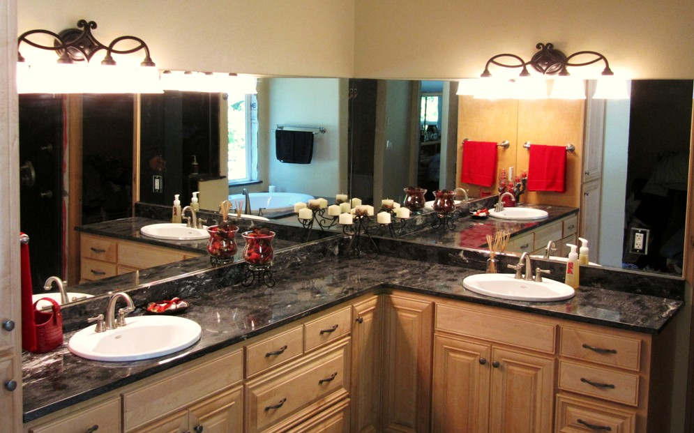 Forest Black (Granite) Double Vanity And Backsplash With Overmount Sinks.  Edge  Double