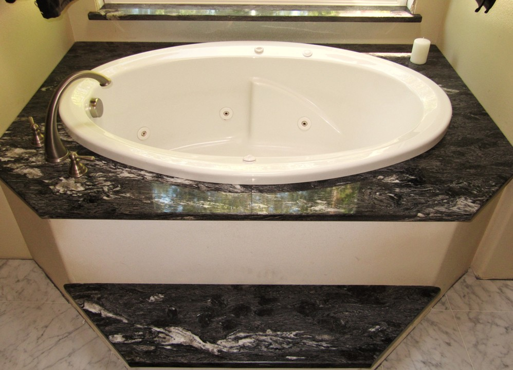Forest Black Granite Bathtub Surround And Step Edge Double Ease
