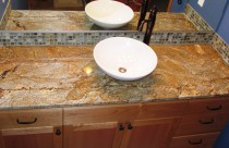 Golden Crystal (Granite) Vanity with Vessel Sink. Edge- Double Ease