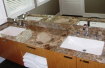 Paradiso (Marble) Vanity and Backsplash with Undermount Sinks.  Reverse 45° Edge.