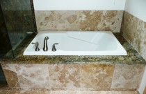 Persian (Granite) Bathtub Surround with Overmount Tub. Edge- Double Ease