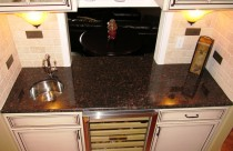 Tan Brown (Granite) Wine Bar with Undermount Prep Sink. Edge- Half Bullnose