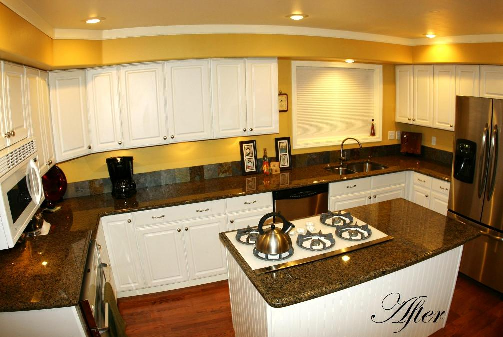 After  Tropical Brown (Granite) Countertops With Undermount Sink And  Cooktop Cutout. Edge